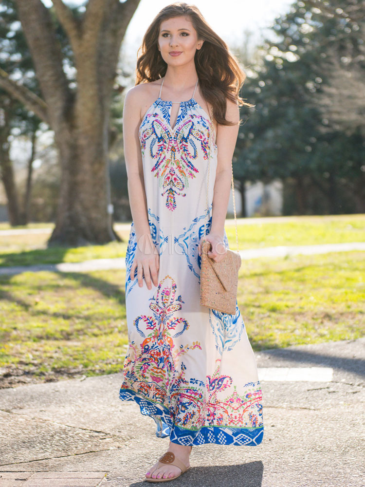 Boho Maxi Dress Women Halter Backless Printed Tassels Summer Dress Cheap clothes, free shipping worldwide