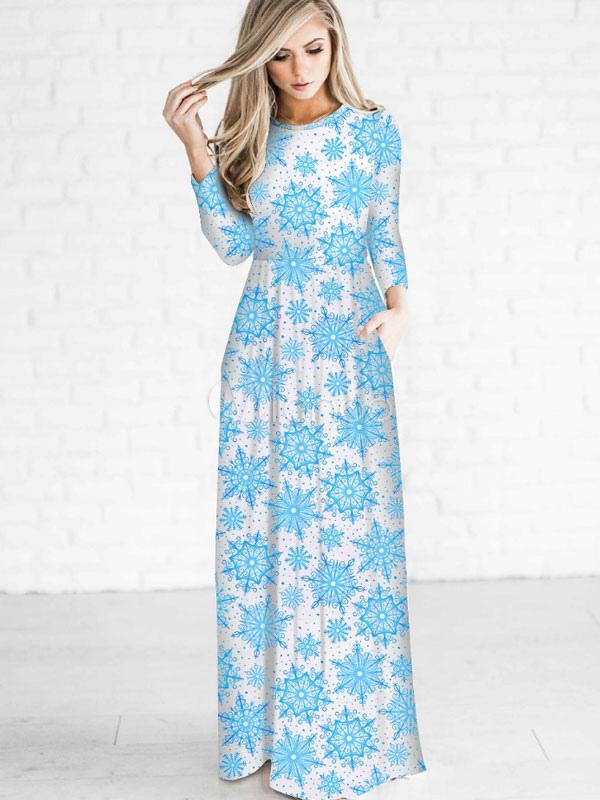 Women Maxi Dress Light Blue Snow Printed Three Quarter Sleeve Long Spring Dress Cheap clothes, free shipping worldwide