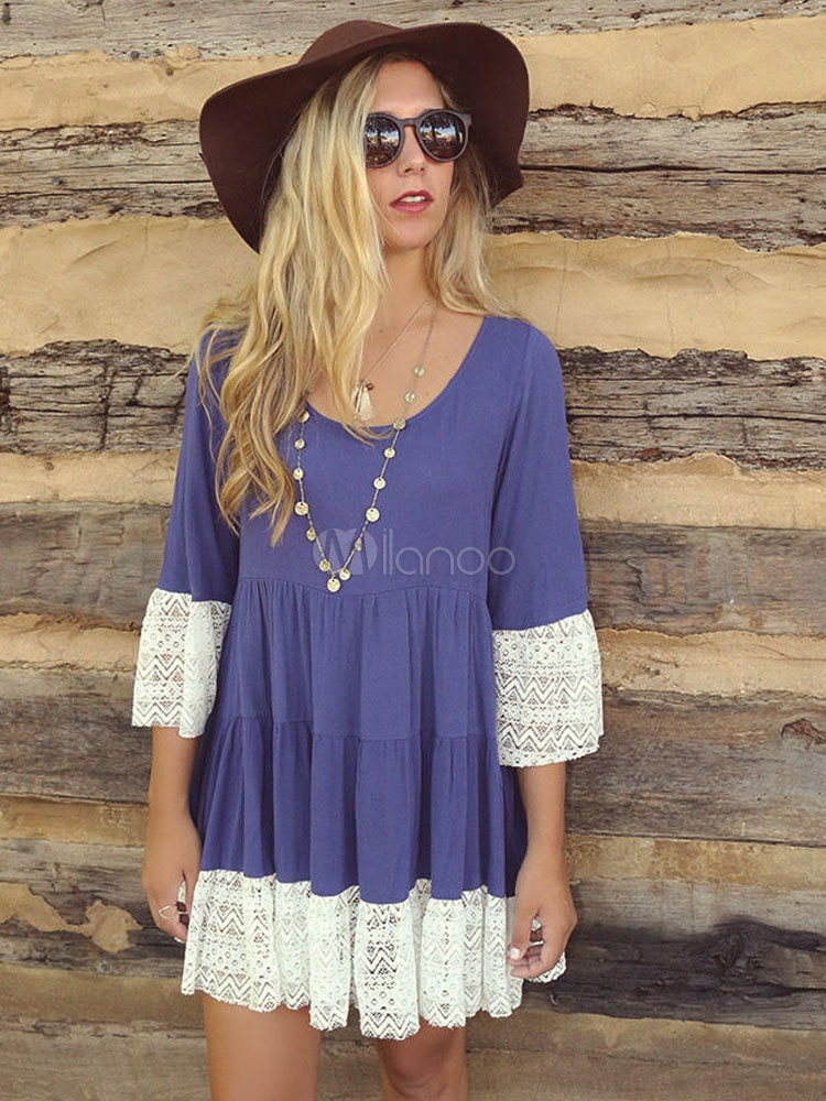 Blue Shift Dress Women Dress Round Neck 3/4 Length Sleeve Pleated Short Dress Cheap clothes, free shipping worldwide
