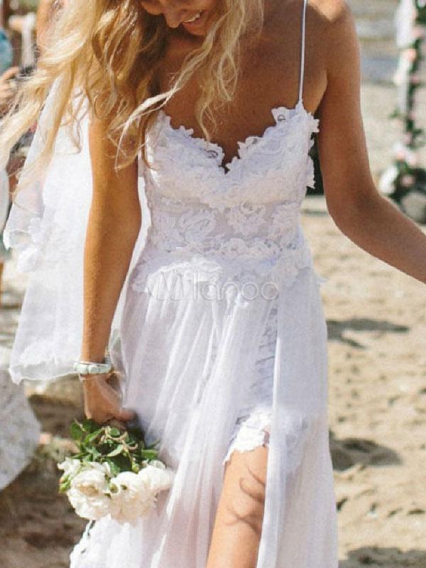 365a19973c16 ... White Long Dress Boho Beach Dress Lace Split Sheer Summer Slip Dress  For Women-No ...
