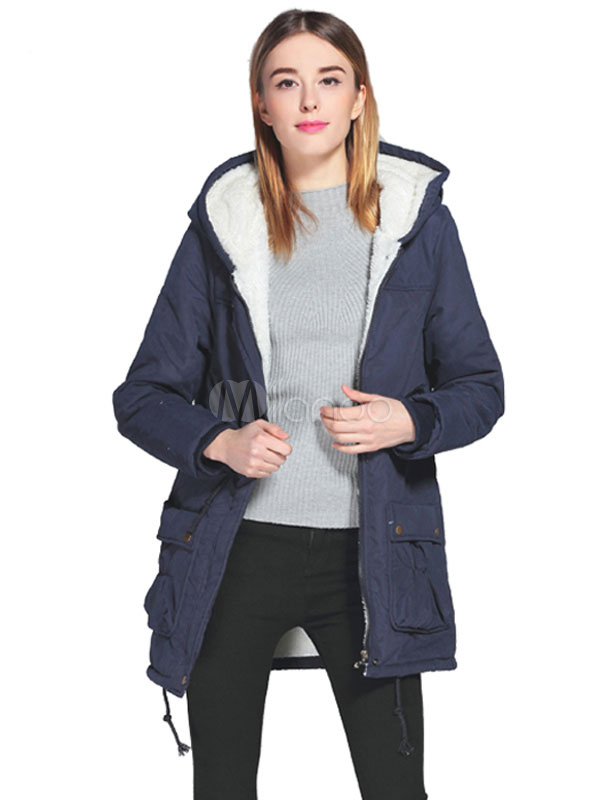Women Parka Coat Long Sleeve Drawstring Cotton Winter Coat