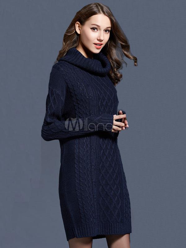 423155d7394 ... Women Sweater Dress Turtleneck Long Sleeve Cotton Dark Navy Knitted  Dress-No.3 ...
