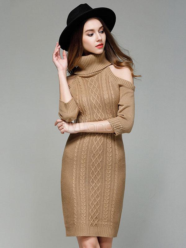dc12421121 Turtleneck Sweater Dress Cold Shoulder Women Light Tan Long Sleeve Slim Fit Jumper  Dress-No ...