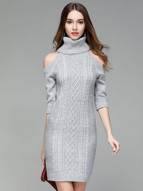 d3a672ca9c ... Turtleneck Sweater Dress Cold Shoulder Women Light Tan Long Sleeve Slim  Fit Jumper Dress-No ...