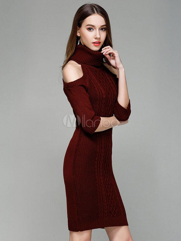 70985a34d6 ... Turtleneck Sweater Dress Cold Shoulder Women Light Tan Long Sleeve Slim  Fit Jumper Dress-No