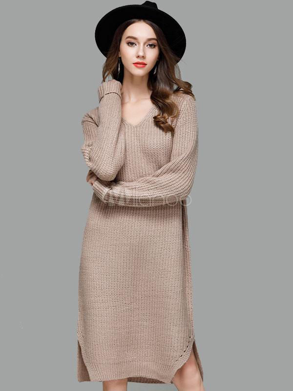 37647cc78f4 Women Sweater Dress Light Brown V Neck Long Sleeve Shift Dress Cotton Knit  Dress-No ...