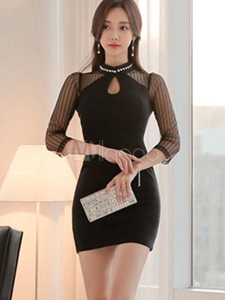 Women Bodycon Dress Black Short Dress Keyhole 3/4 Length Sleeve Pearls Slim Fit Sheath Dress