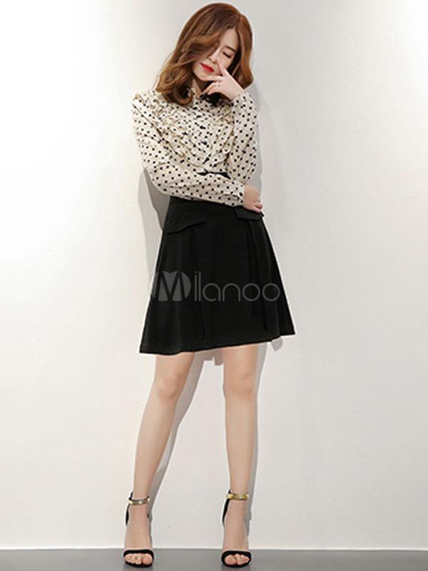 Buy Black Skater Dress Women Short Dress Turndown Collar Long Sleeve Polka Dot Shirt Dress for $41.39 in Milanoo store