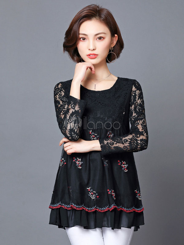 Women Casual Shirt Black Blouse Lace Round Neck Long Sleeve Embroidered Casual Top