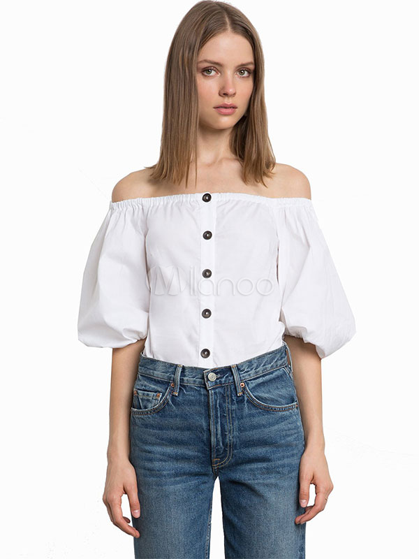 Buy Blouse Off The Shoulder Half Sleeve Button Up Puff Sleeve White Women Top for $13.79 in Milanoo store