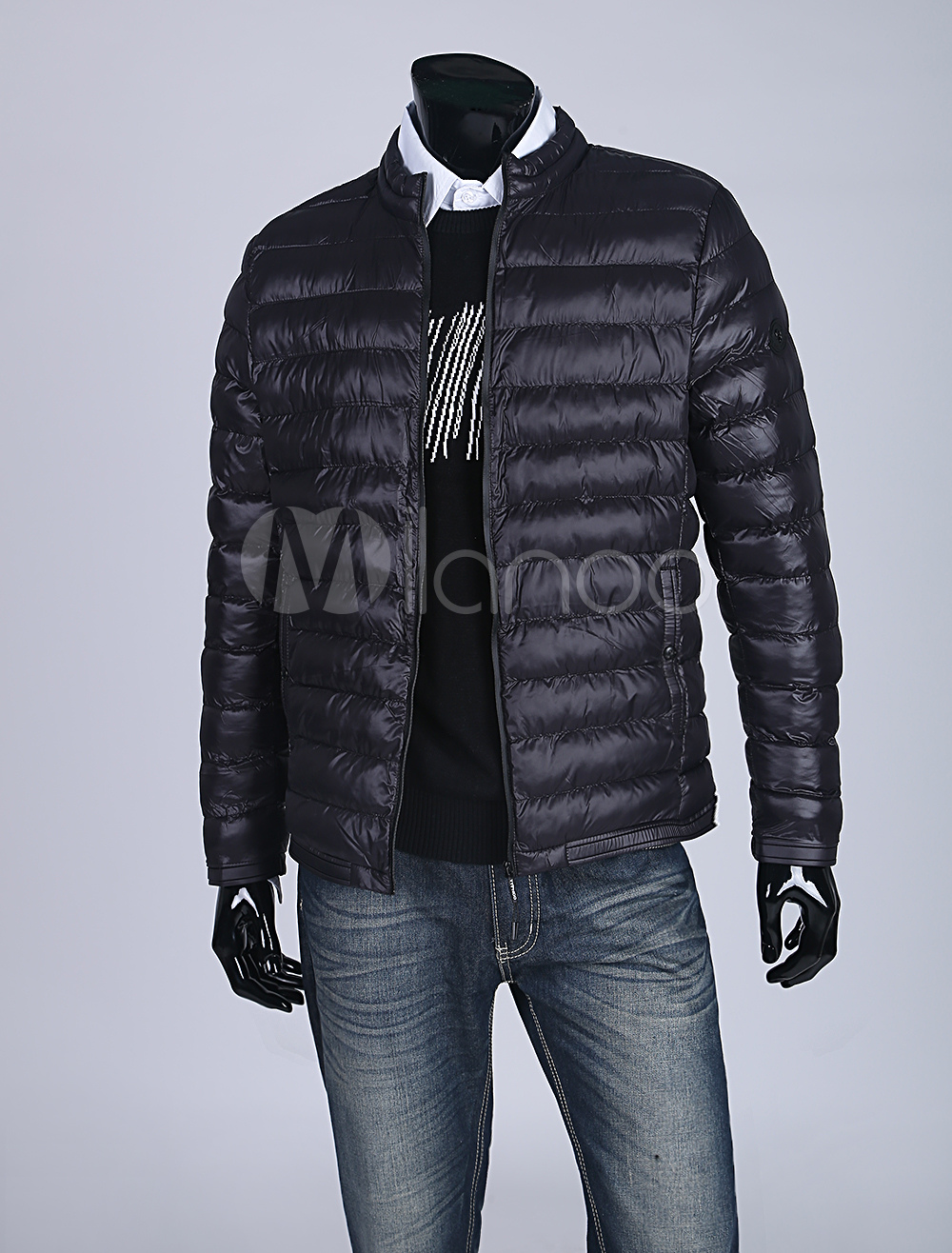 Buy Black Puffer Coat Men Short Jacket Stand Collar Long Sleeve Zip Up Quilted Coat for $65.69 in Milanoo store