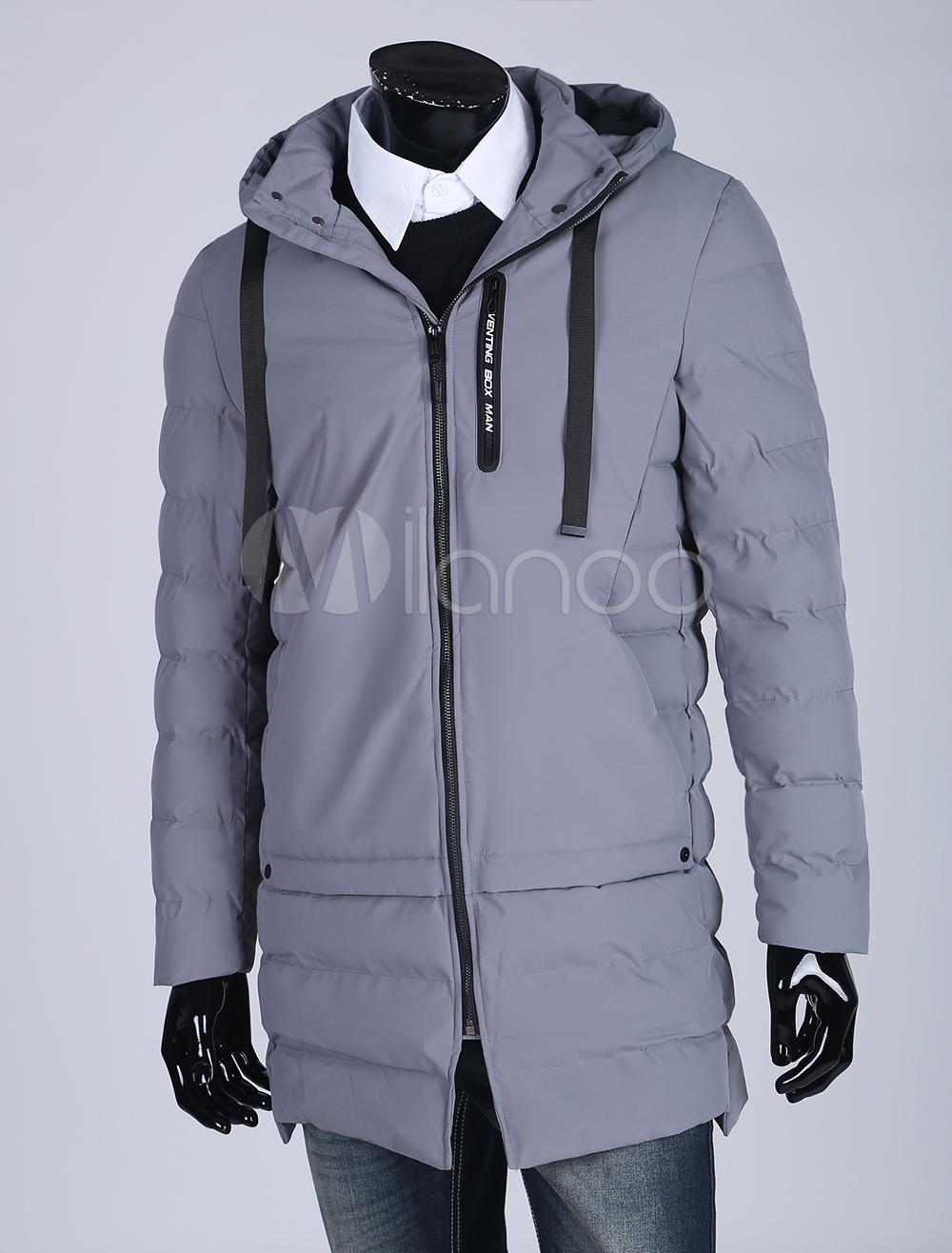 Men Quilted Coat Grey Winter Coat Hooded Long Sleeve Zip Up Puffer Coat