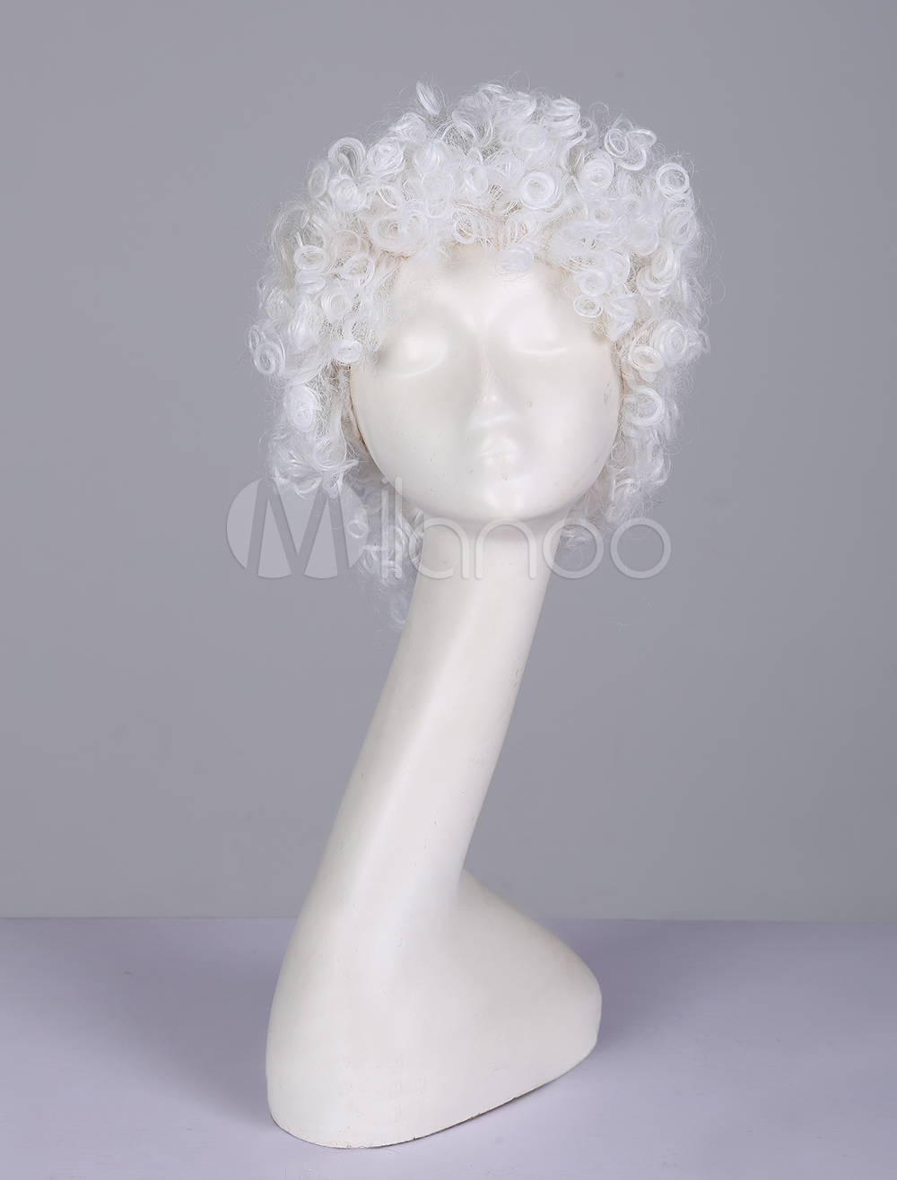 White Old Man Cosplay Hair Wigs Women Curly Short Wigs For Party ... b63ad60b8b