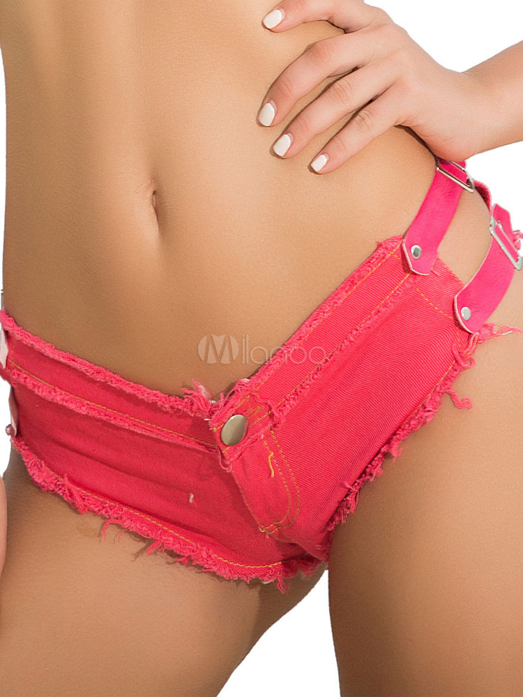 Sexy Denim Shorts Buckle Women Rose Summer Mini Booty Shorts