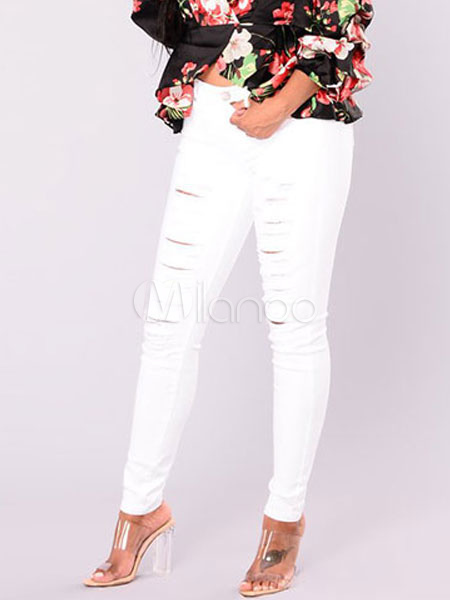Buy White Skinny Jeans Women Cut Out Button Ripped Denim Jeans for $21.59 in Milanoo store