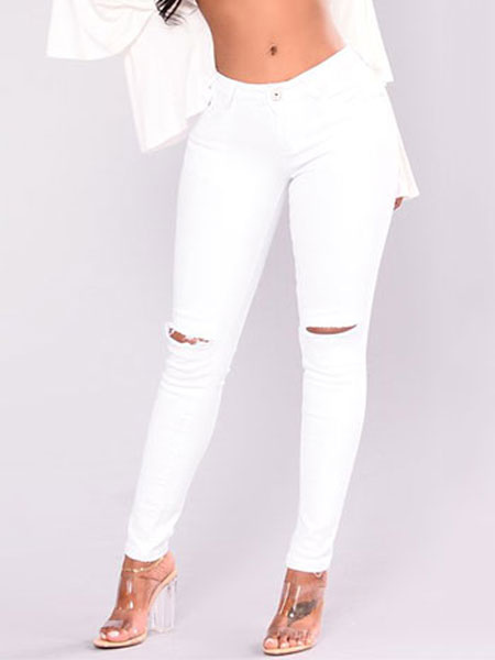 Buy Women Skinny Jeans White Cut Out Ripped Denim Jeans for $22.94 in Milanoo store