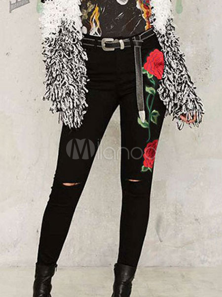 Buy Black Skinny Jeans Embroidered Rose High Waisted Women Denim Jeans for $20.99 in Milanoo store