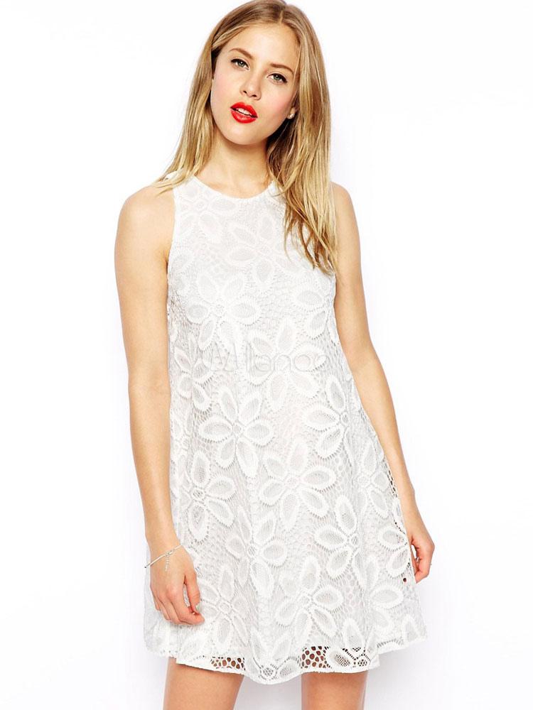 Buy White Shift Dress Lace Women Sleeveless Summer Dress for $11.99 in Milanoo store