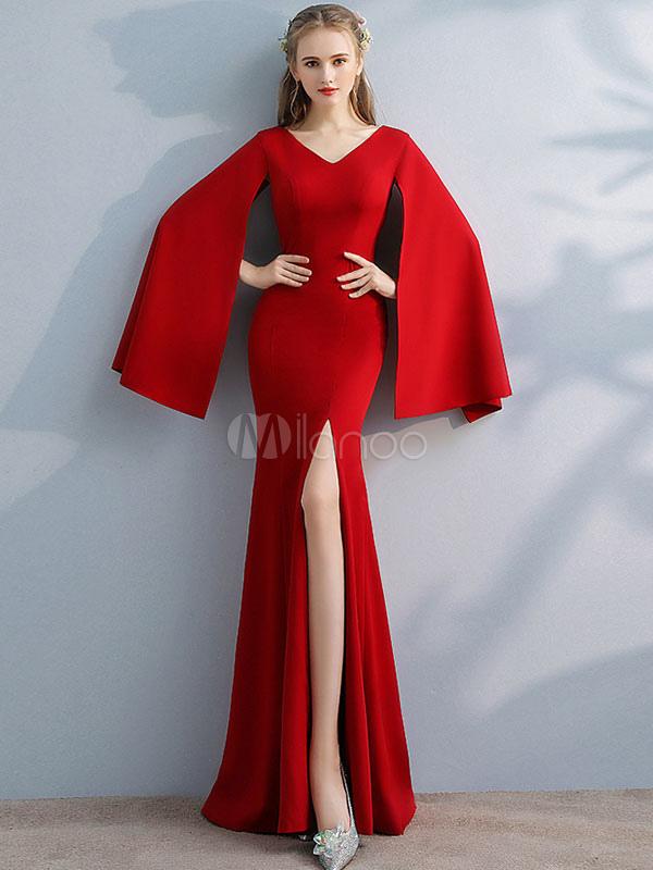53a51eaeb Vestido de fiesta maxi rojo cuello en v manga dividida primavera vestido  largo para las mujeres ...