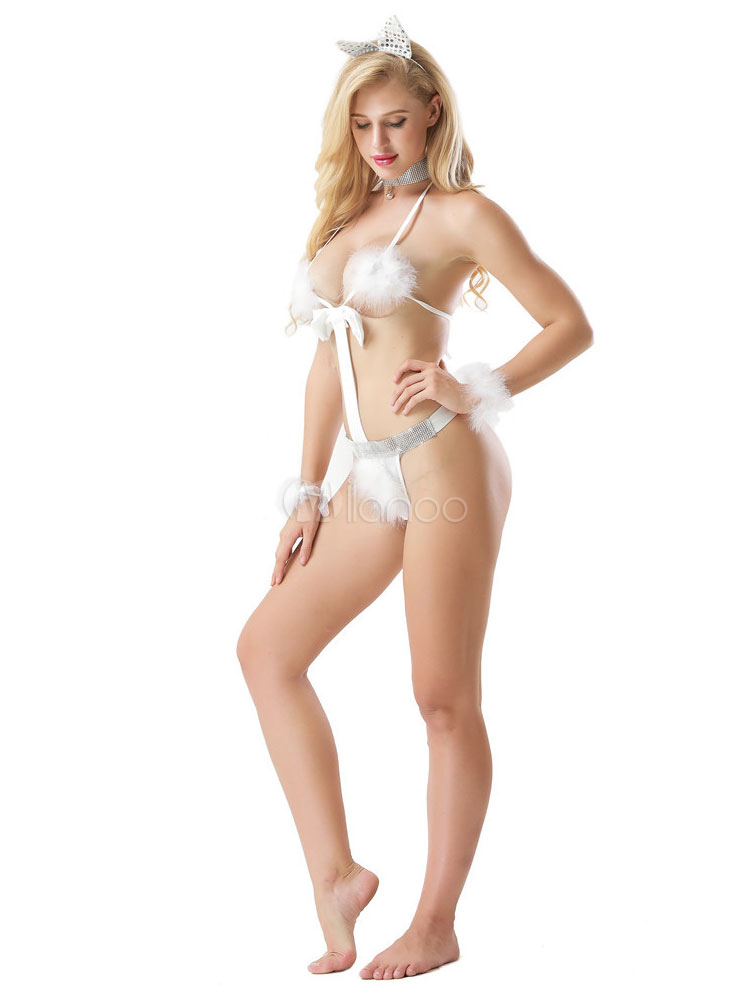 8771c89e6ee White Sexy Teddy Faux Fur Bow Backless Bunny Lingerie