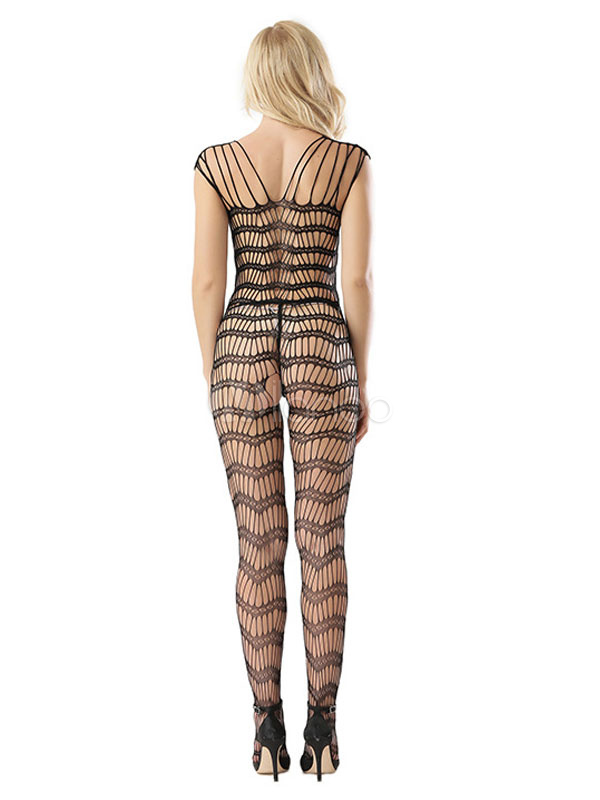 881822beadf ... Black Fishnet Bodystocking Strappy Crotchless Sheer Cut Out Women Sexy  Lingerie-No.4. 1