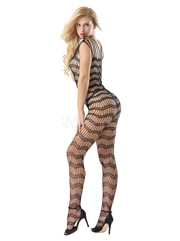 b1de6c43914 Black Fishnet Bodystocking Strappy Crotchless Sheer Cut Out Women Sexy  Lingerie