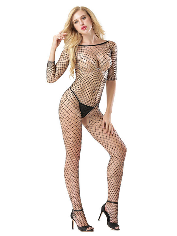 Black Women Sexy Lingerie Long Sleeve Bodystocking Fishnet Sheer hCxQtsrd