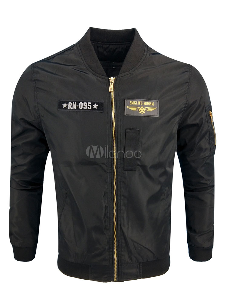 Buy Black Bomber Jacket Men Short Jacket Stand Collar Long Sleeve Zip Up Spring Jacket for $32.19 in Milanoo store