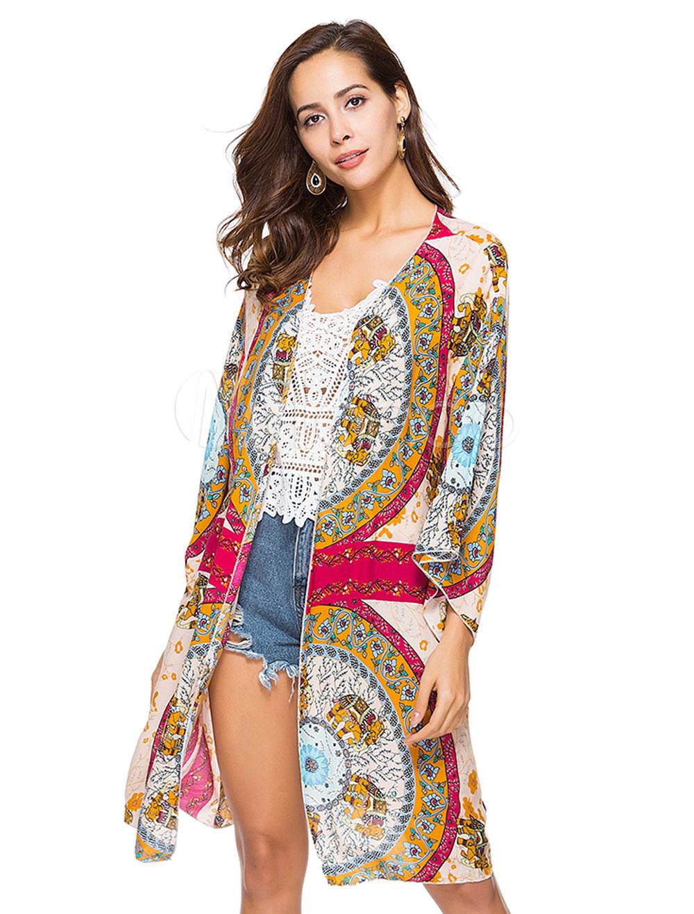 Buy Boho Cover Up Kimono Ethnic Print Open Front Women Beachwear for $12.74 in Milanoo store