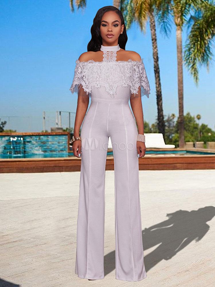 75783751632 Women White Jumpsuit Lace Halter Wide Leg Long Jumpsuit - Milanoo.com
