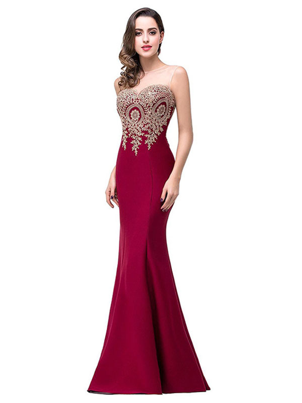 Buy Maxi Party Dress Women Applique Illusion Neckline Evening Dress for $27.99 in Milanoo store