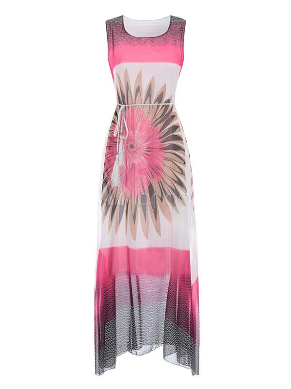 Chiffon Floral Dress Maxi Dress Chiffon Women Sheer Sleeveless Summer Dress