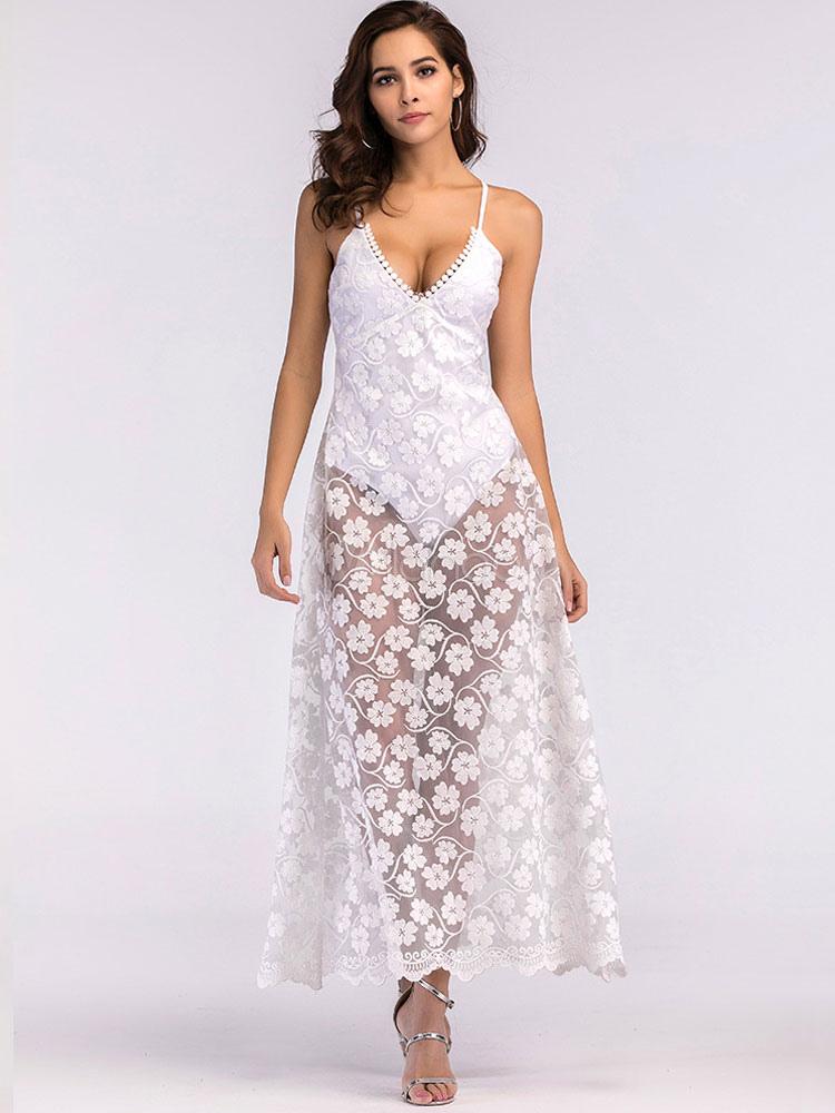 0937d04d12 White Long Dress Bodysuit Dress Floral Plunging Sheer Women Summer Dress-No.1  ...