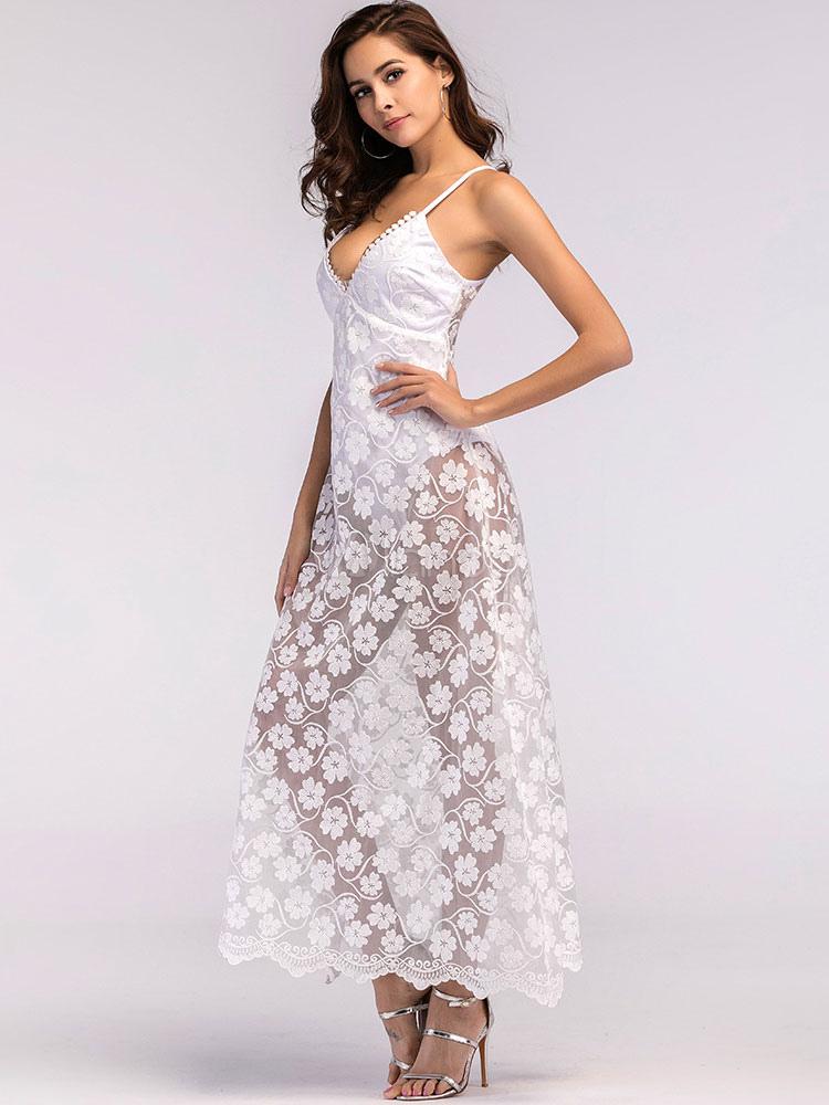 White Long Dress Bodysuit Dress Floral Plunging Sheer ...