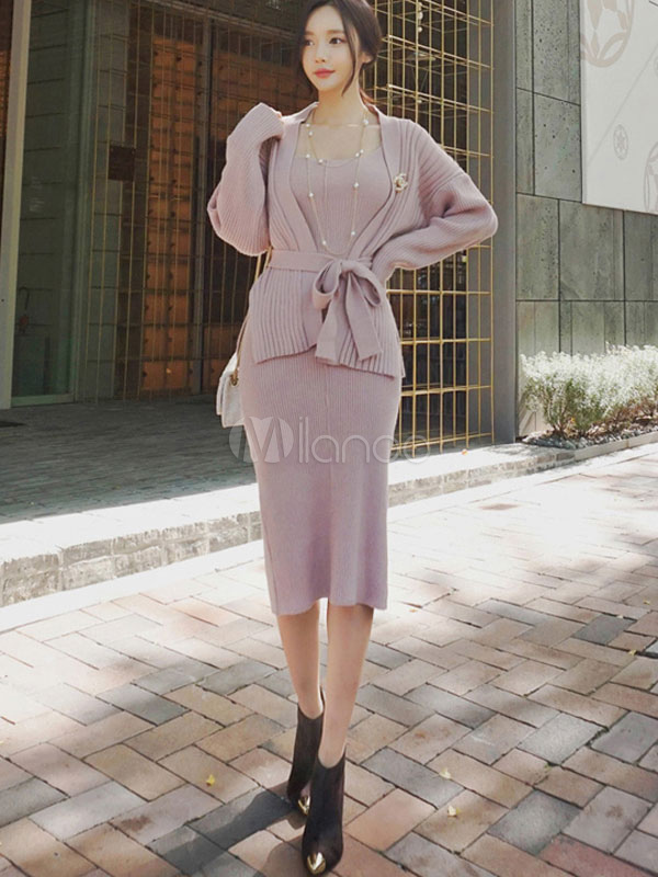 8f0f7b357e4d 2 Piece Dress Outfit Women Pink Bodycon Dress With Cardigan-No.1 ...