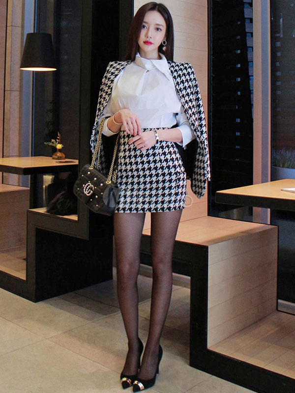 07c4f9a17c2d4 2 Piece Outfit Women Houndstooth Blazer Jacket With Mini Skirt For Work-No.1  ...