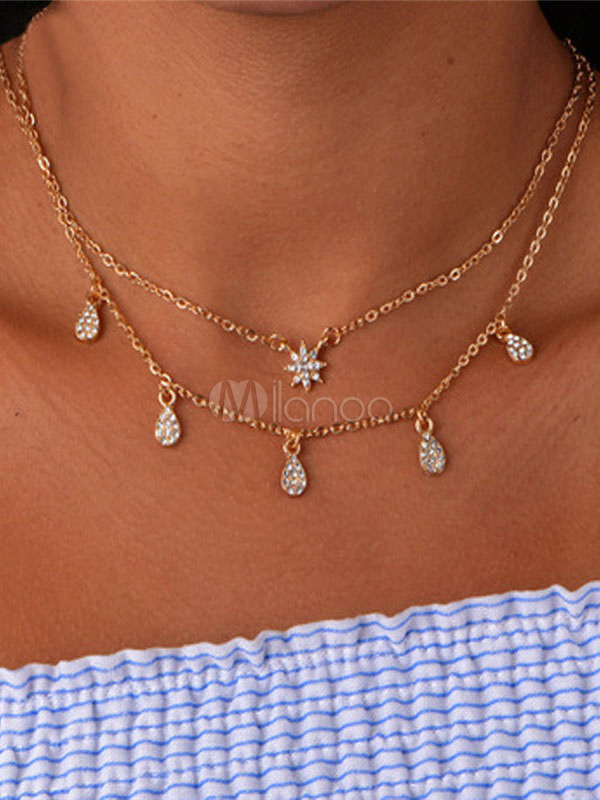Buy Layered Necklace Women Rhinestone Snowflake Drop Multi Chain Golden Necklace for $2.75 in Milanoo store