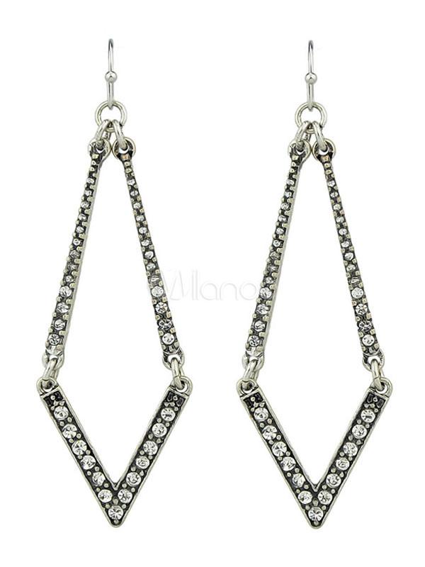 Buy Silver Earring Women Rhinestone Geometric Hollow Out Alloy Dangle Earring for $2.75 in Milanoo store