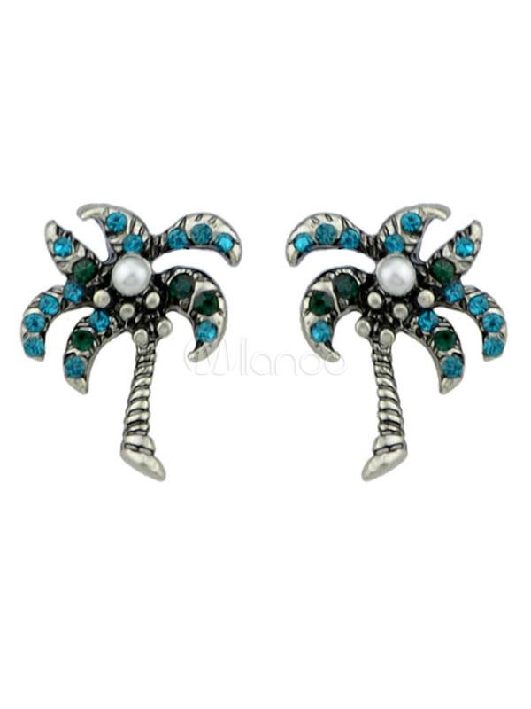 Buy Women Earring Stud Palm Tree Rhinestone Alloy Blue Earring for $1.83 in Milanoo store