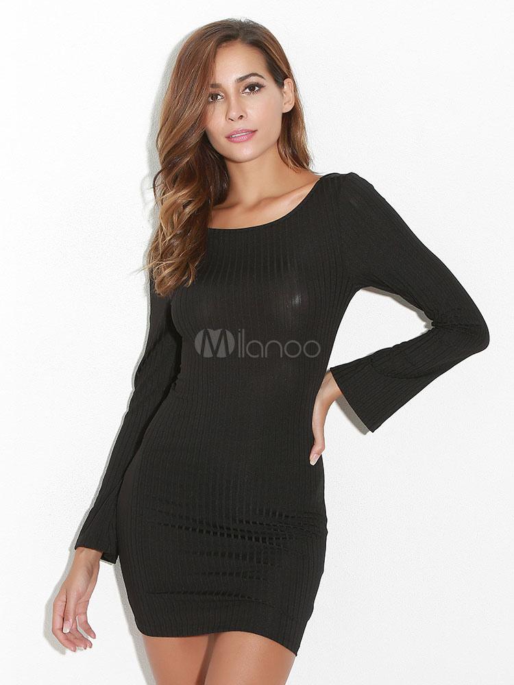 Buy Black Bodycon Dress Women Short Dress Round Neck Long Sleeve Backless Slim Fit Sheath Dress for $21.24 in Milanoo store