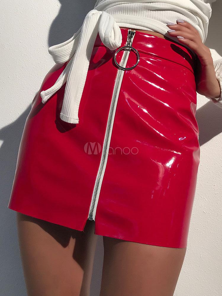 Women Mini Skirt PU Zipper Grommet Red Women Pencil Skirt