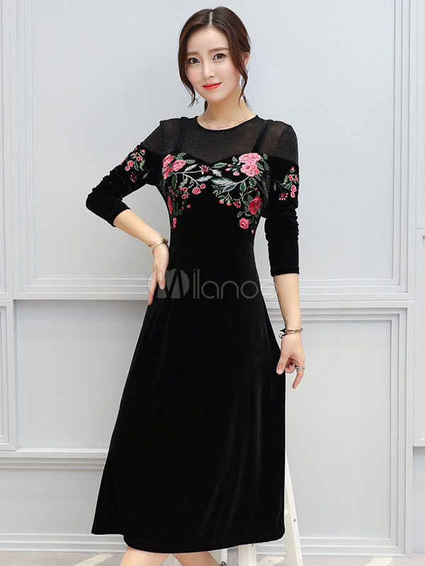 Buy Women Black Dress Embroidered Fake Two Piece Long Sleeve Spring Dress for $38.24 in Milanoo store
