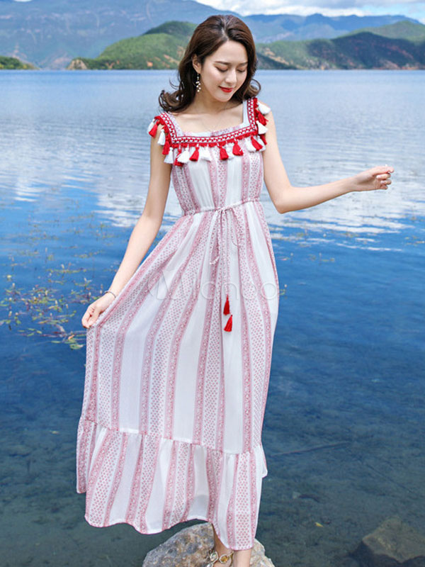 Buy Chiffon Maxi Dress Boho Summer Dress Tassel Stripes Square Neckline Women Beach Dress for $32.29 in Milanoo store
