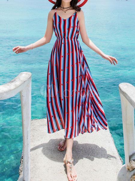 Maxi Summer Dress Women Chiffon Stripes Polka Dot Beach Dress