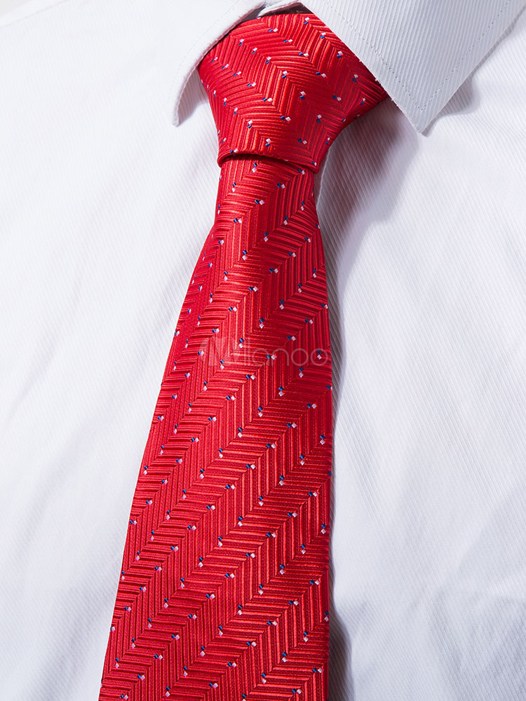 Men Red Ties Jacquard Casual Business Neck Tie