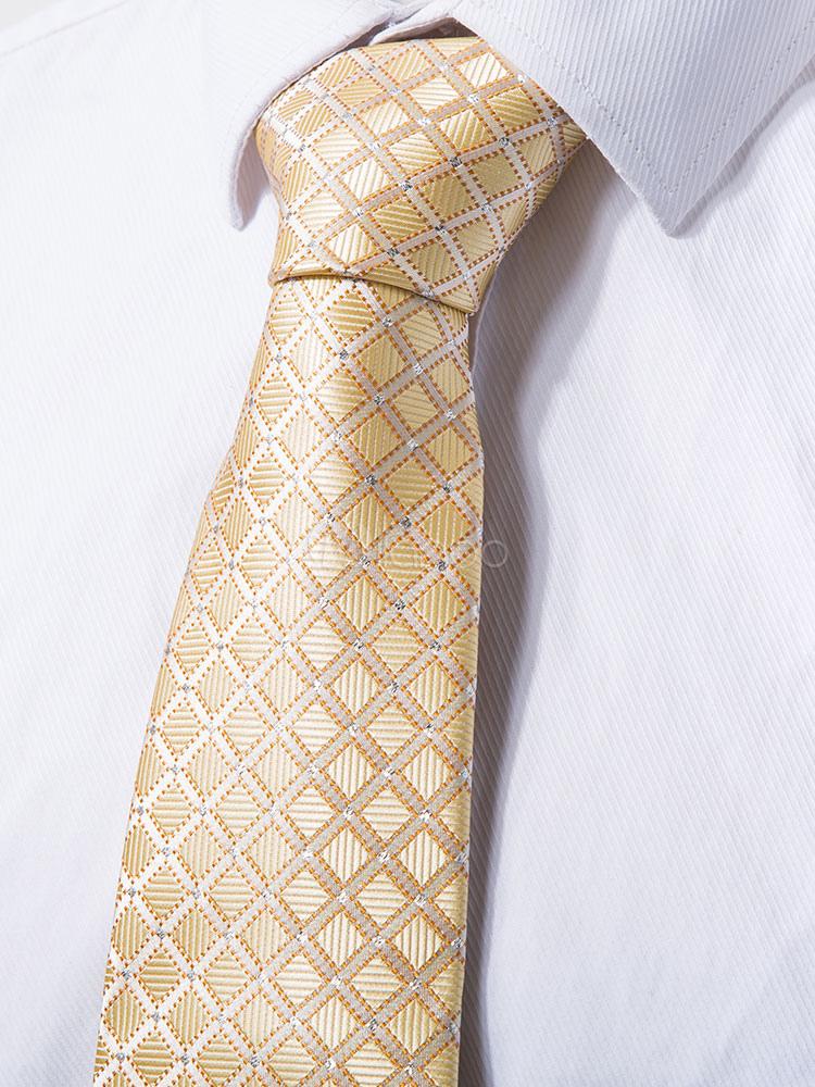 Men Business Ties Beige Plaid Neck Tie