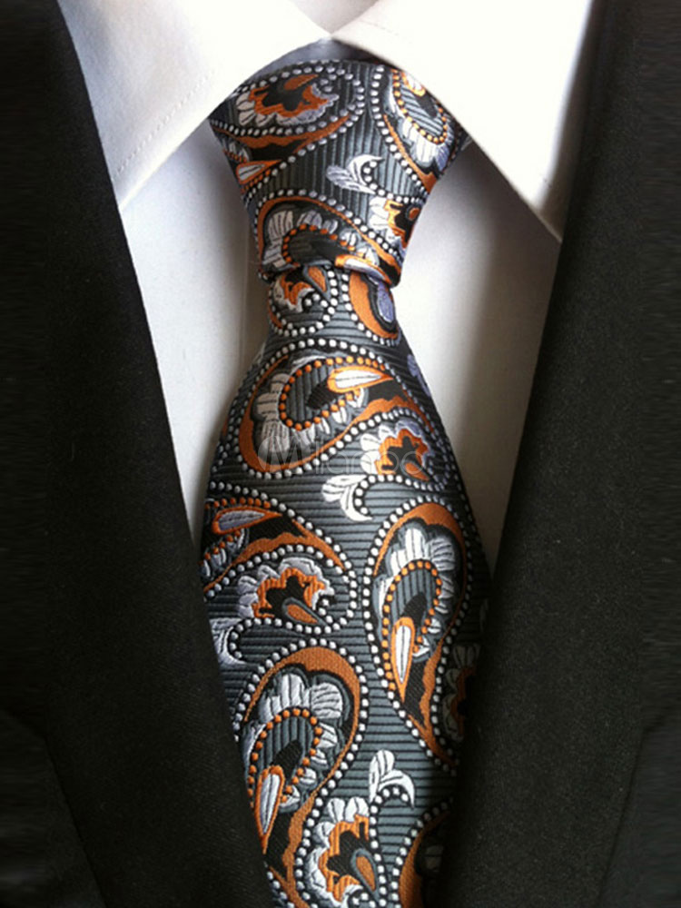 Men Dress Ties Grey Jacquard Casual Business Tie