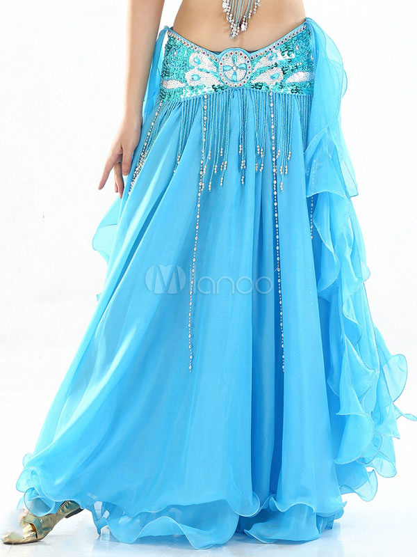 Belly Dance Skirt Bottom Blue Women Chiffon Bollywood Dancing Costume Accessories