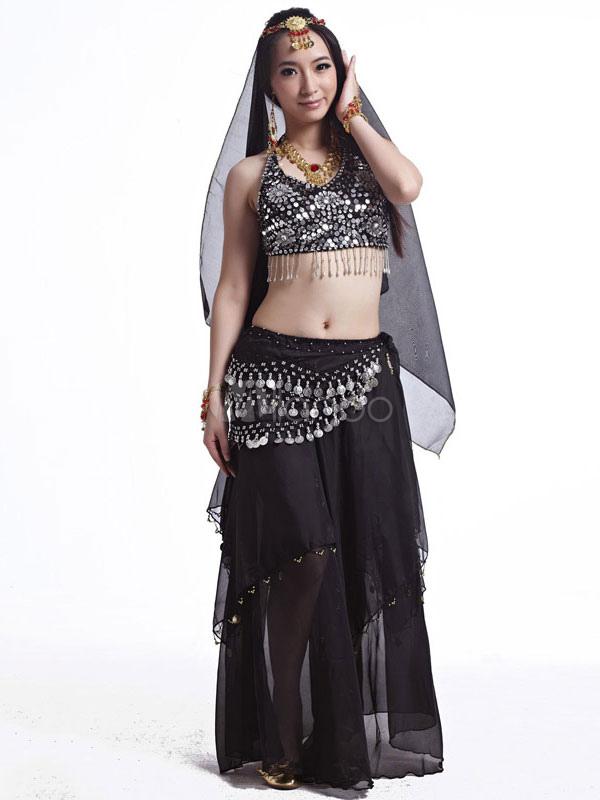 25263a6363cd Traje de danza del vientre Traje de falda negro Conjunto Mujer gasa  Bollywood Dancing Clothes 5 Piezas