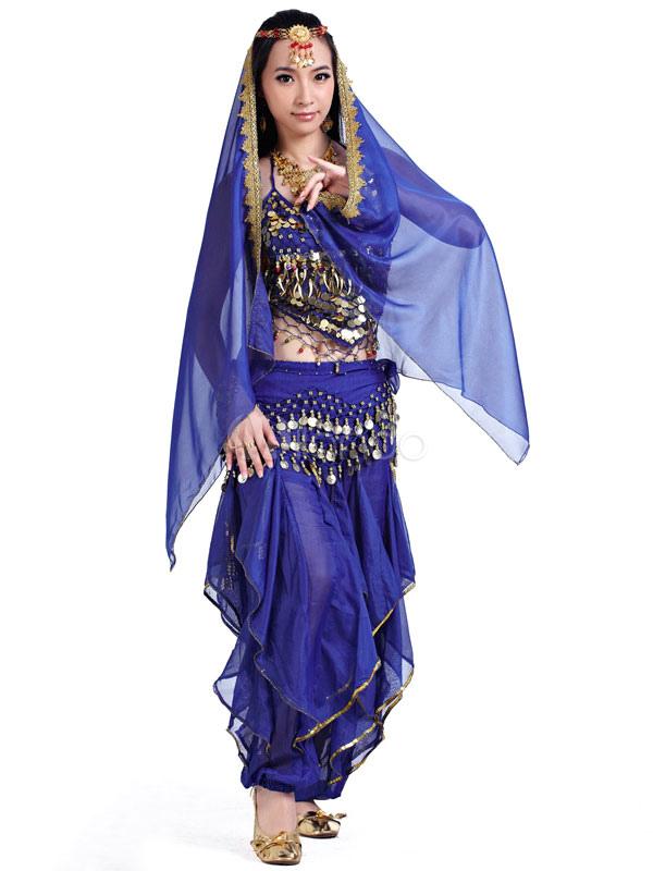 Trajes de danza del vientre trajes azul mujer gasa Bollywood ...
